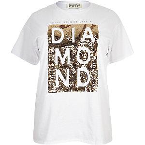 T-shirt boyfriend blanc RI Plus à imprimé et sequins