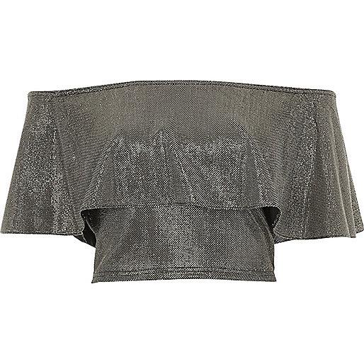 Bardot-Crop-Top mit Rüschen in Silber