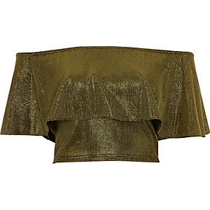 Gold metallic deep frill bardot crop top