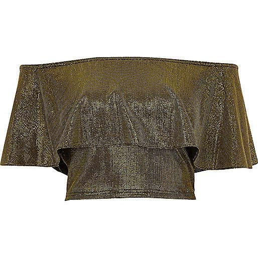 Bardot-Crop-Top mit Rüschen in Gold-Metallic