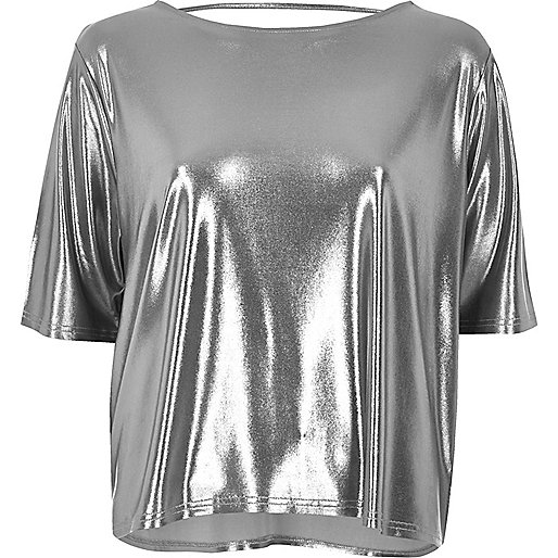 T-shirt carré argenté à lanières dans le dos