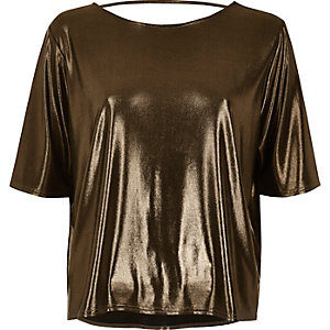 Bronze boxy strap back T-shirt