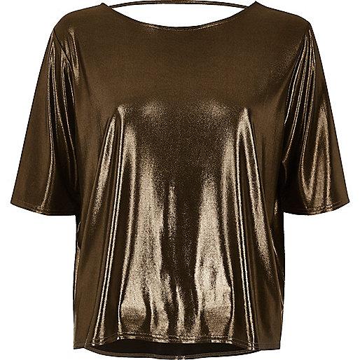 Kastiges T-Shirt in Bronze