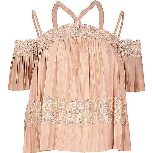 Pink lace pleated cold shoulder top