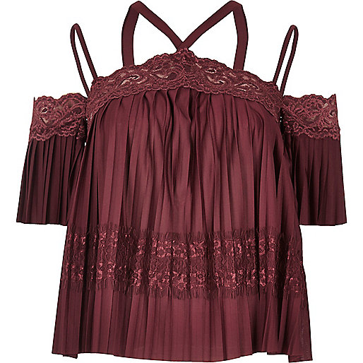 Dark red pleated lace panel bardot top