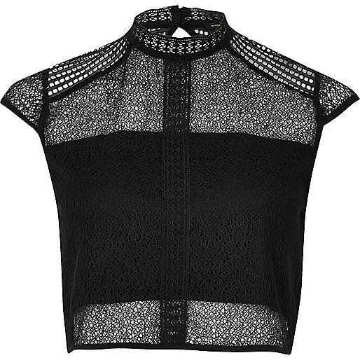 Black lace panel high neck crop top