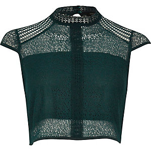 Dark green lace panel high neck crop top