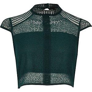 Dark green lace panel high neck crop top