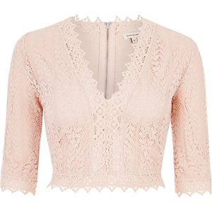 Pink lace plunge crop top
