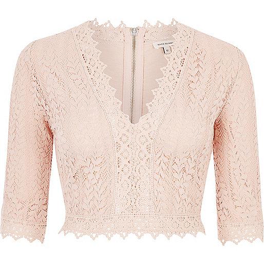 Pink lace plunge crop top
