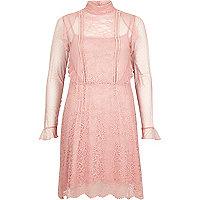 Pink lace frill dress