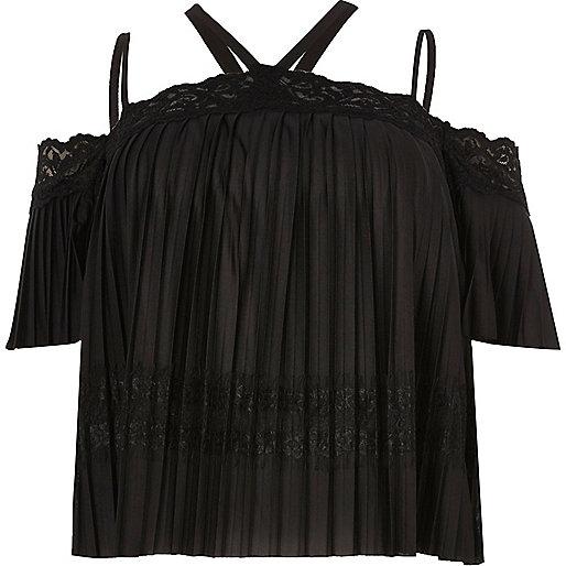 Plus black lace pleated cold shoulder top