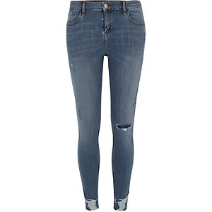 Mid wash ripped Amelie super skinny jeans