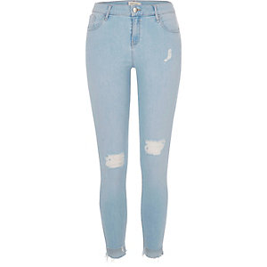 Light wash ripped Amelie super skinny jeans