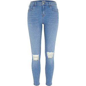 Bright blue ripped Amelie super skinny jeans