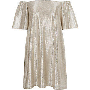 Gold metallic bardot swing dress