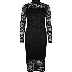 Black lace turtleneck bodycon dress