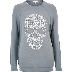 Graues Sweatshirt mit Totenkopfprint