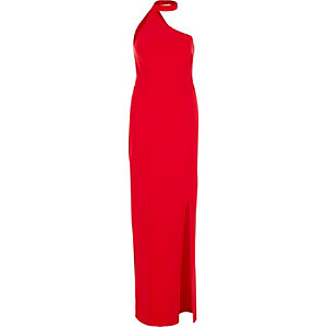 Red one shoulder choker maxi dress