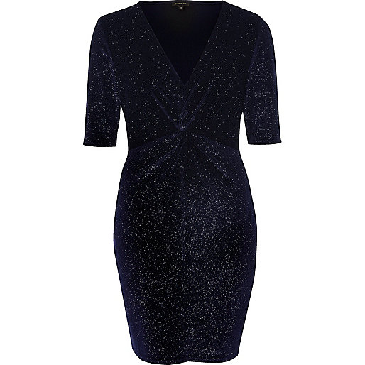 Navy sparkly velvet knot dress