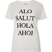 White nibbled 'Salut' print T-shirt