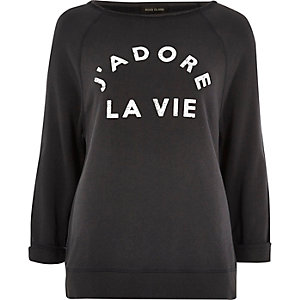 Black washed 'J'adore La Vie' print sweater