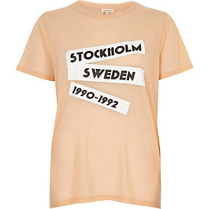 Peach pink mesh print T-shirt