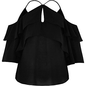 Black frill cold shoulder blouse
