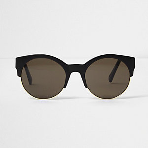 Black matte half frame sunglasses
