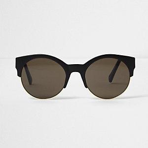 Schwarze, matte Sonnenbrille mit halbem Gestell