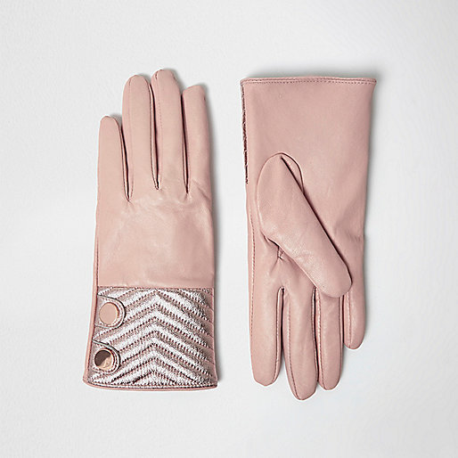Pink quilted leather gloves