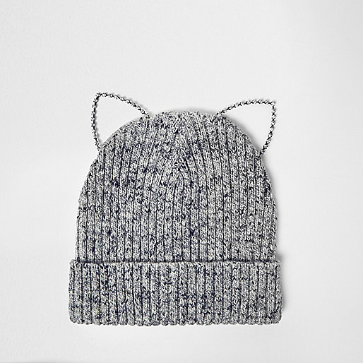 Grey kitten ears beanie