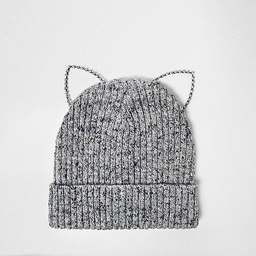 Bonnet gris à oreilles de chat