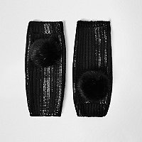 Black metallic knit pom pom handwarmers