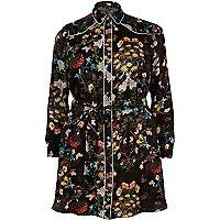 RI Plus black floral print shirt dress