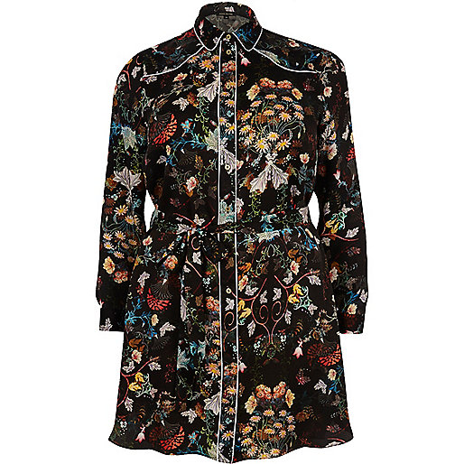RI Plus black floral print shirt dress