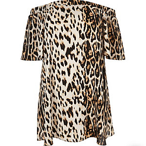 Robe RI Plus imprimé léopard marron à encolure bardot