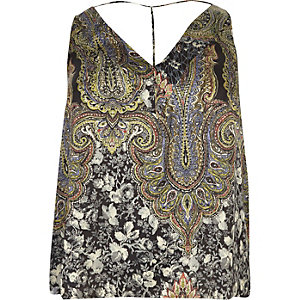 RI Plus green print T-bar cami top