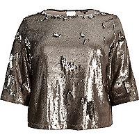 RI Plus metallic grey sequin grazer top