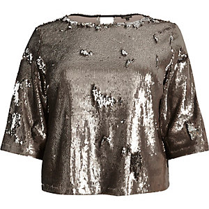 RI Plus metallic grey sequin grazer top