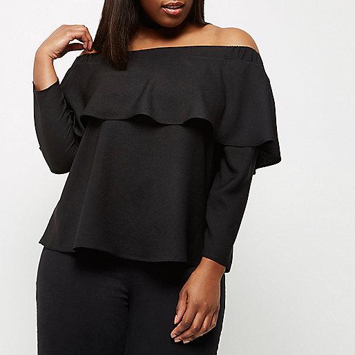 RI Plus black deep frill bardot top