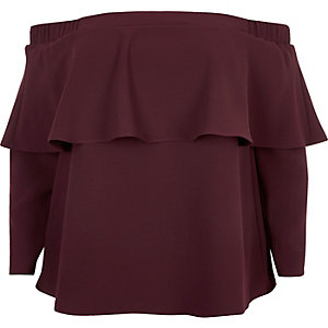 RI Plus dark red deep frill bardot top