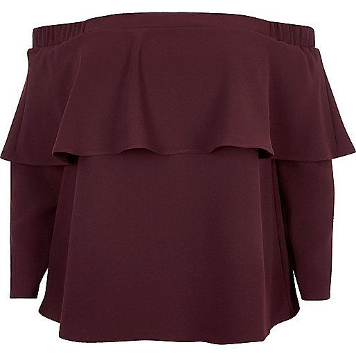 Plus burgundy deep frill bardot top