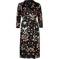 Black print long sleeve wrap dress