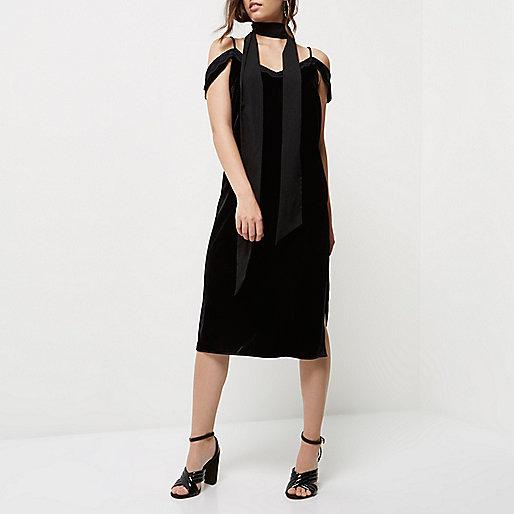Petite black velvet cold shoulder slip dress