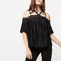 Petite black pleated lace panel bardot top