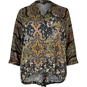 RI Plus black paisley print shirt