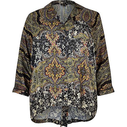 Chemise Plus à imprimé cachemire noire