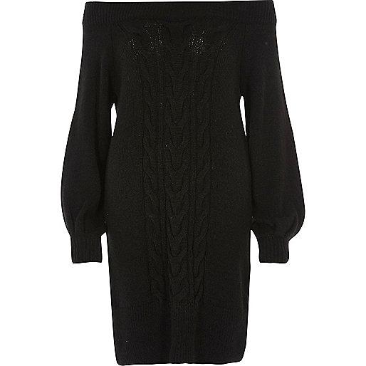 Schwarzes Bardot-Kleid mit Zopfmuster