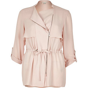 Blush pink drawstring shacket
